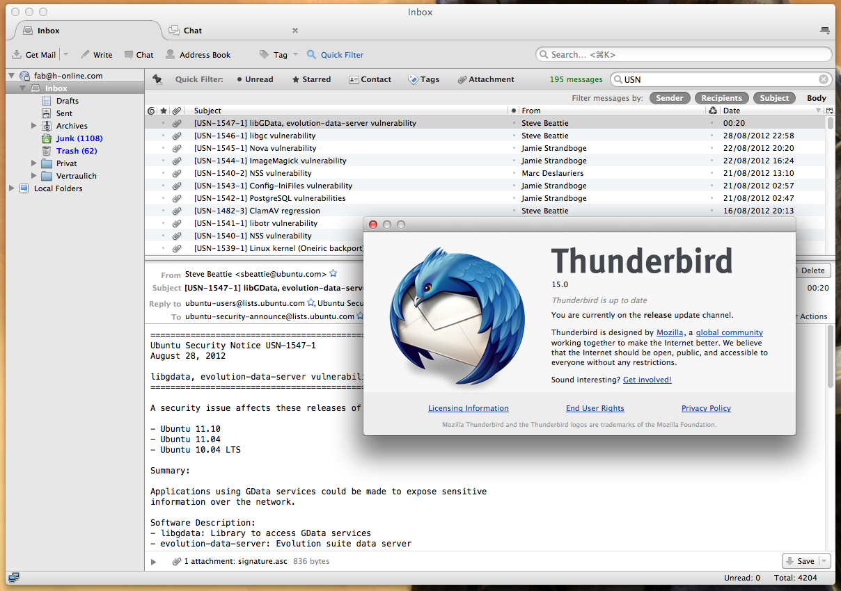 Mozilla Thunderbird for Mac OS X Free Download and Reviews ...