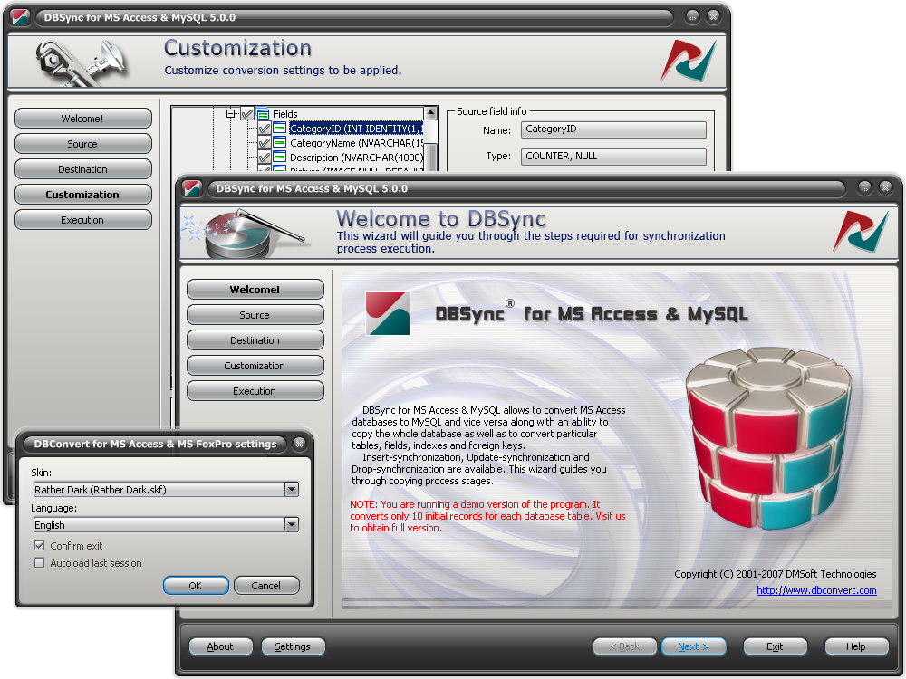 Snapshot of DBSync for MS Access & MSSQL.