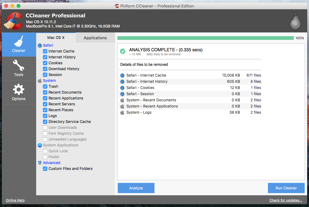 Ccleaner free download for mac os x