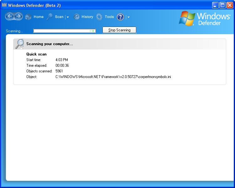 برنامج الحماية Windows Defender
