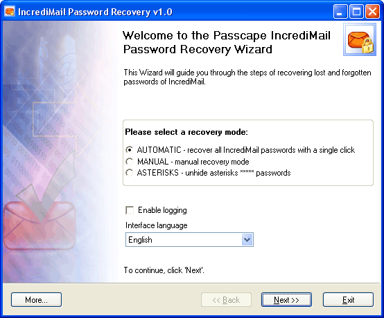 IncrediMail Password Recovery 1.3.1 + Crack + Русский язык.