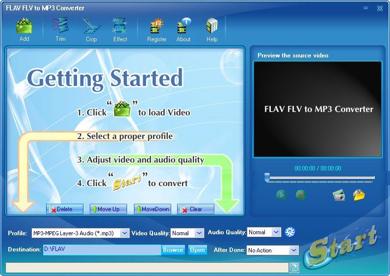 FLAV FLV to MP3 Converter Screenshot.