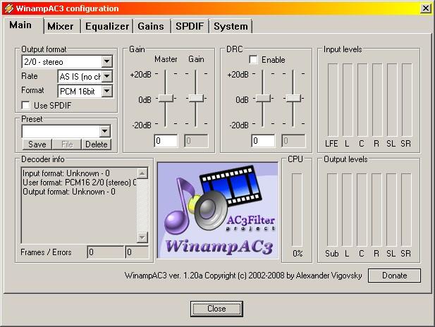 Программа AC3Filter представляет собой фильтр на технологии DirectShow