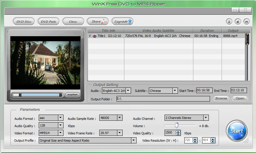 WinX Free DVD to MP4 Ripper