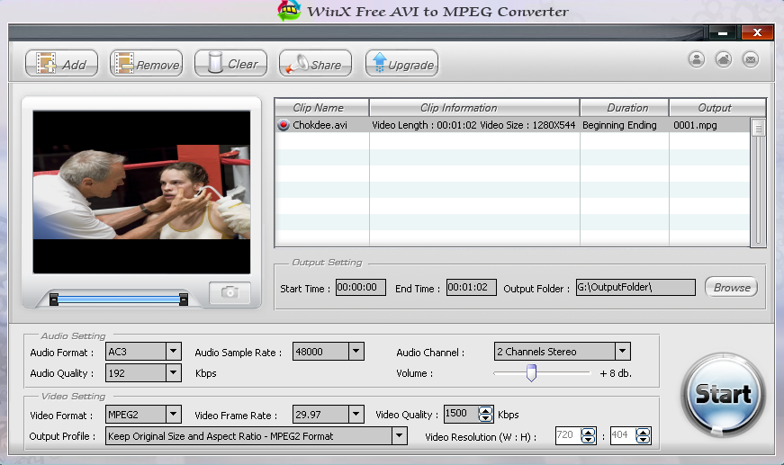 WinX Free AVI to MPEG Converter