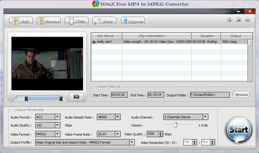 WinX Free MP4 to MPEG Converter