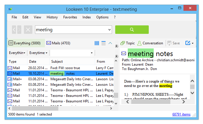 Lookeen 8.3.1.5156. 14 days free trial. Mail search in Outlook - the easi