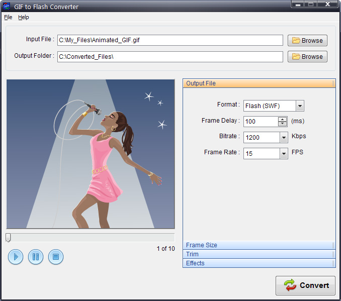 Converting animated GIF to AVI SWF FLV image.