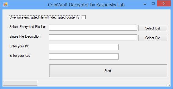 Kaspersky CoinVault Decryptor