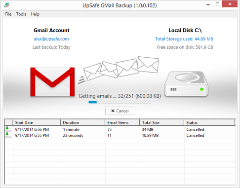 UpSafe GMail Backup