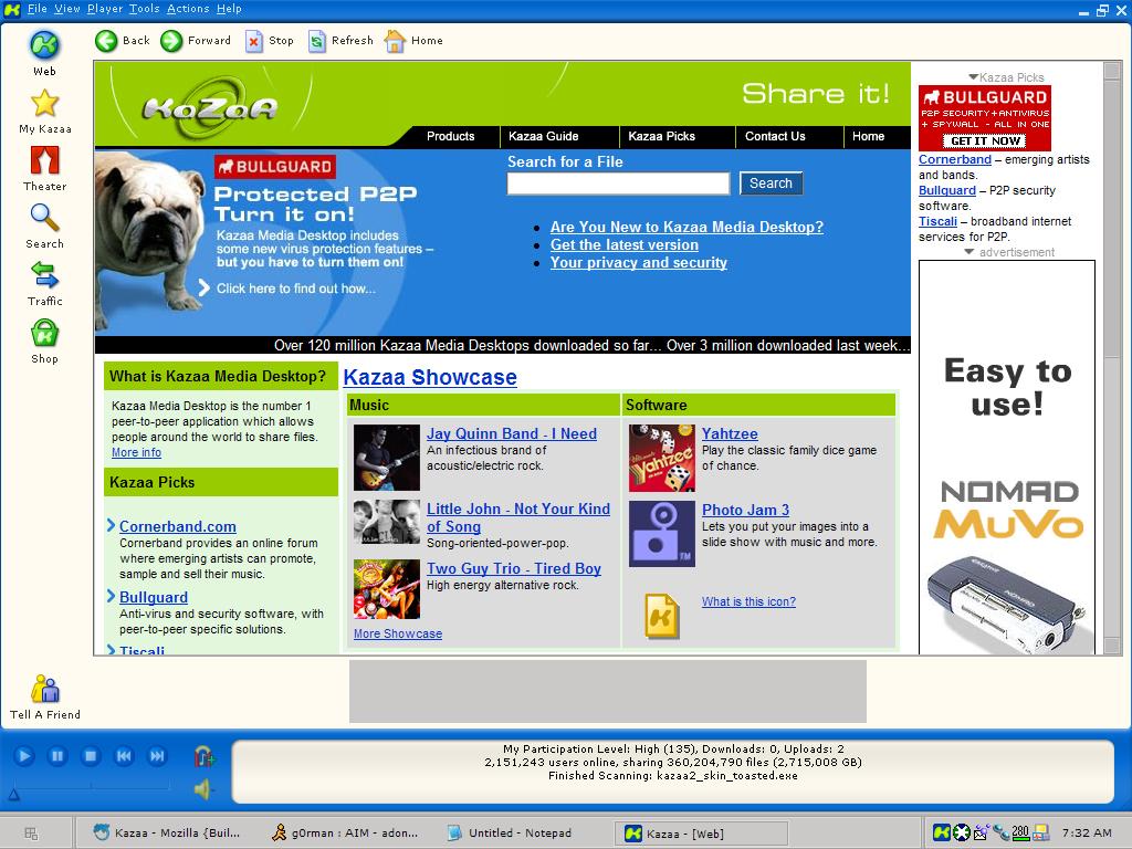 انجليزي لاهم الميزاتKaZaA Media Desktop